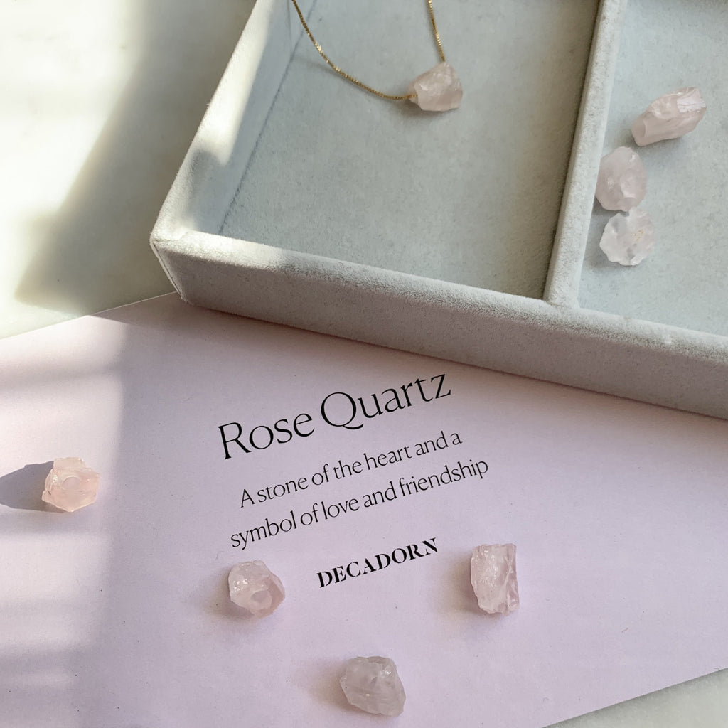 Floating Clarity Crystal Necklace - Rose Quartz - Decadorn