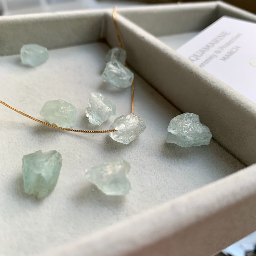 Raw Floating Clarity Crystal Necklace - MARCH, Aquamarine
