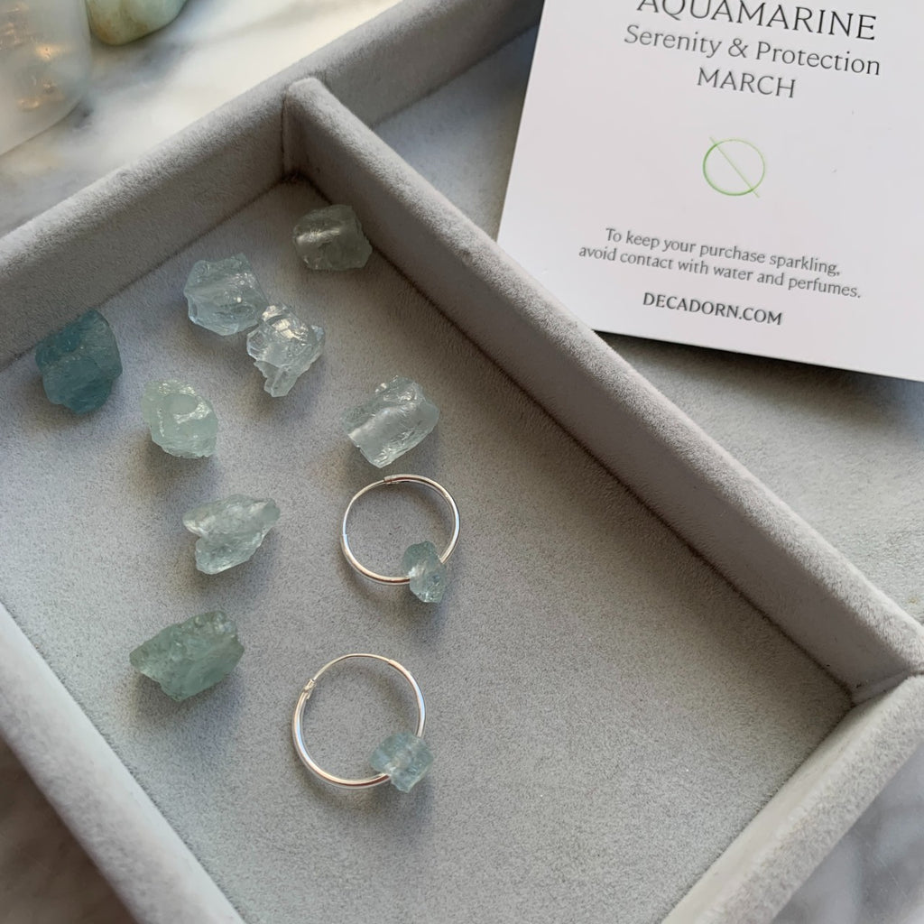Floating Clarity Crystal Hoop Earrings - Silver- MARCH, Aquamarine - Decadorn