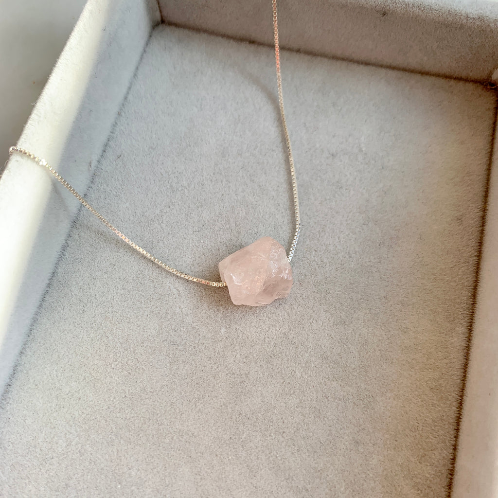 Floating Clarity Crystal Necklace - Silver - Rose Quartz - Decadorn