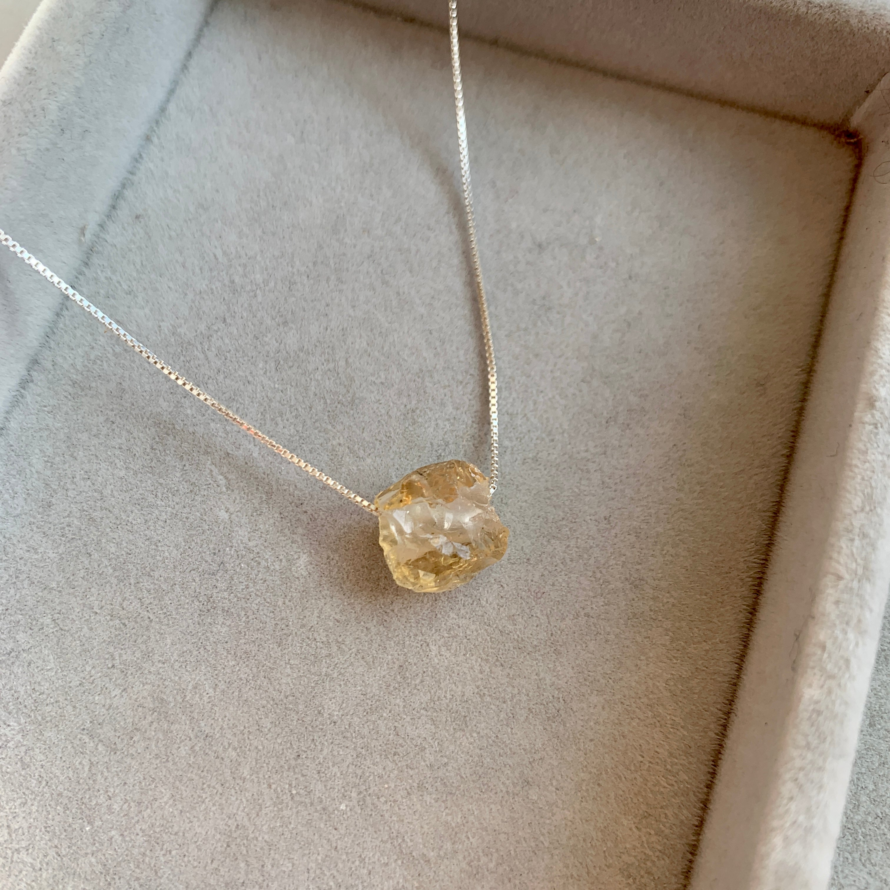 Floating Clarity Crystal Necklace - Silver - NOVEMBER, Citrine - Decadorn