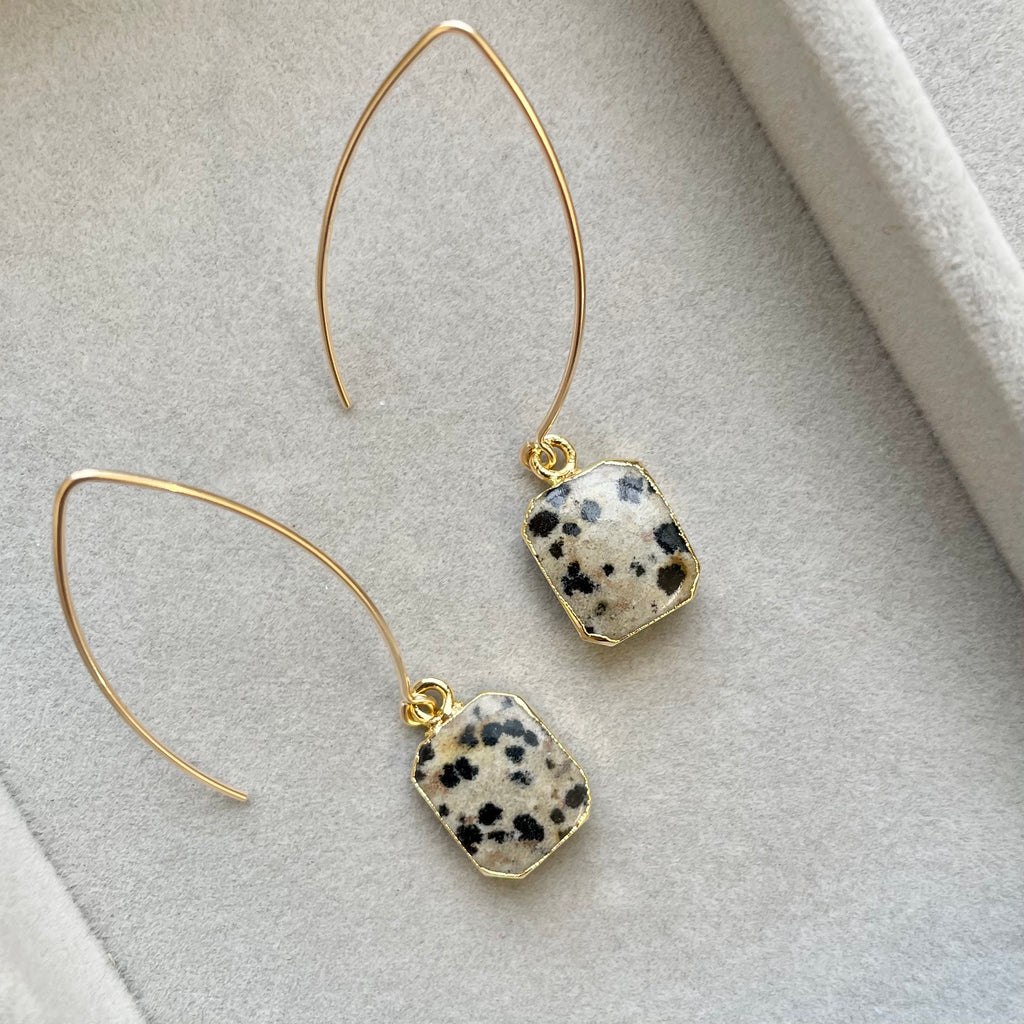 Gem Slice Dropper Earrings - Dalmatian