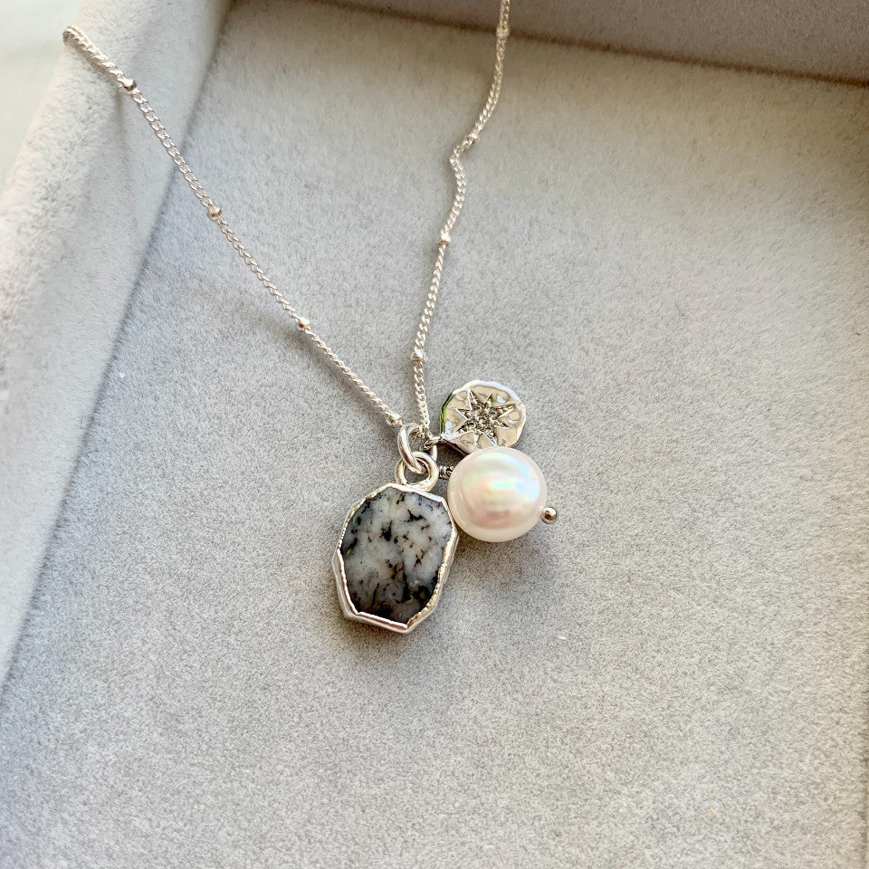 Gem Slice Triple Necklace - Silver - Dendritic Opal - Decadorn