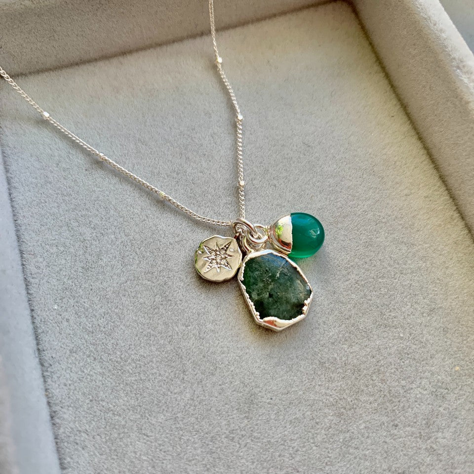 Gem Slice Triple Necklace - Silver - Emerald