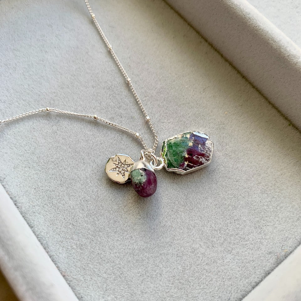 Gem Slice Triple Necklace - Silver- Ruby Zoisite