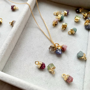 Personalised Family Birthstone Triple Necklace - Tiny Raw Cut (Gold Plated) - Decadorn