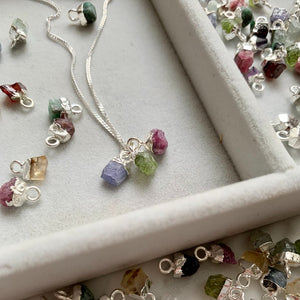 Personalised Family Birthstone Triple Necklace - Tiny Raw Cut (Silver) - Decadorn