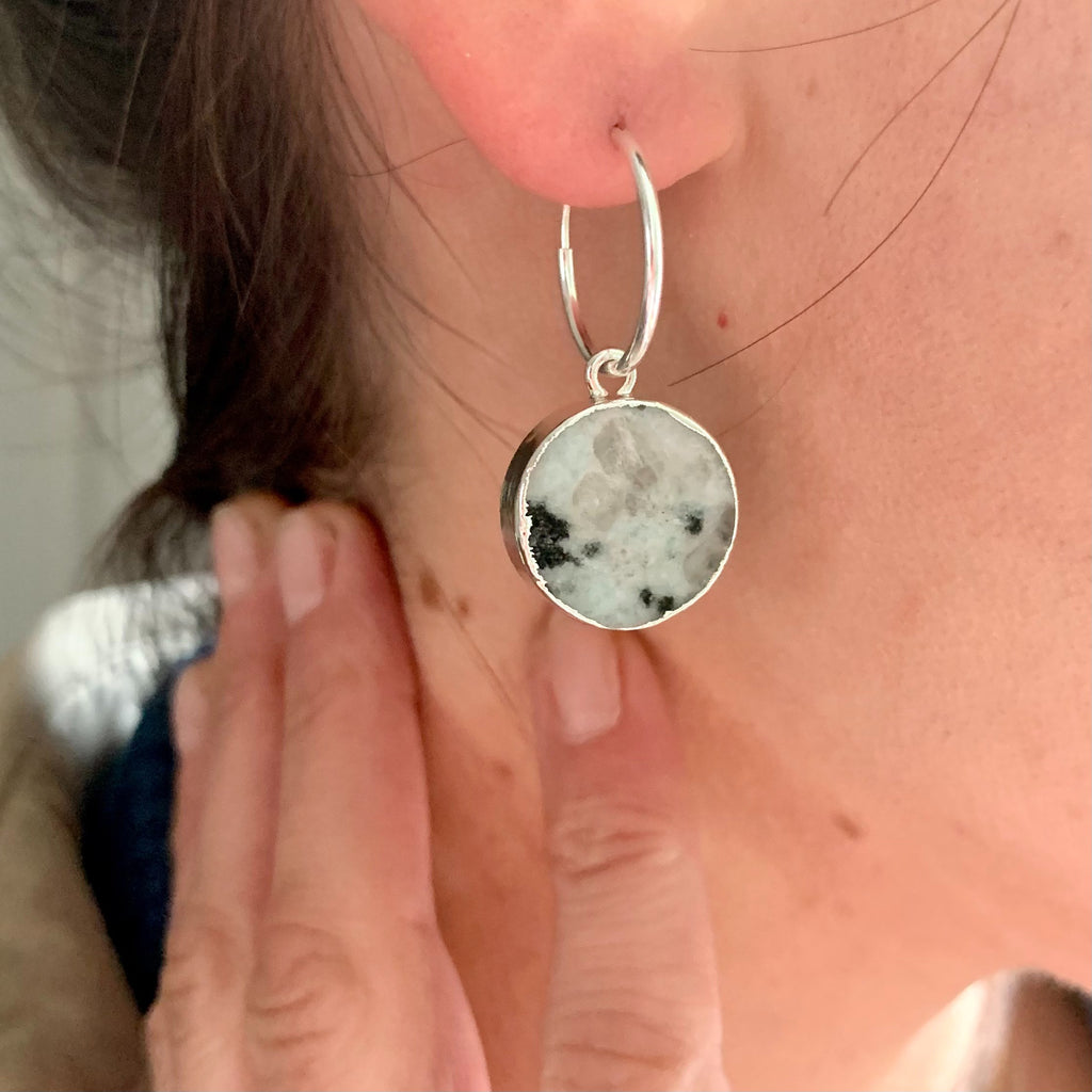 Mini Circle Hoop Earrings - Sterling Silver - Kiwi Jasper - Decadorn
