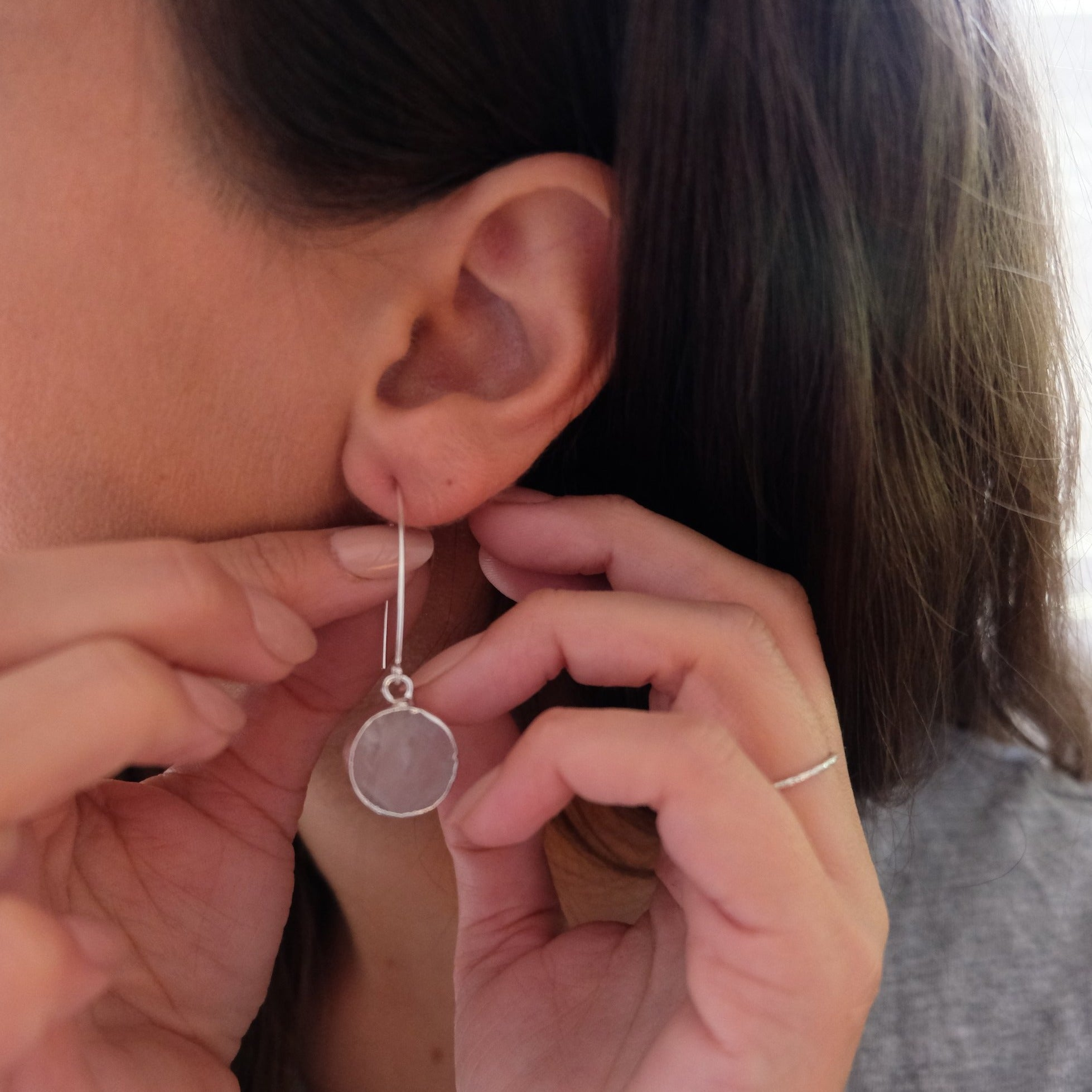 Mini Circle Dropper Earrings - Sterling Silver - Rose Quartz - Decadorn