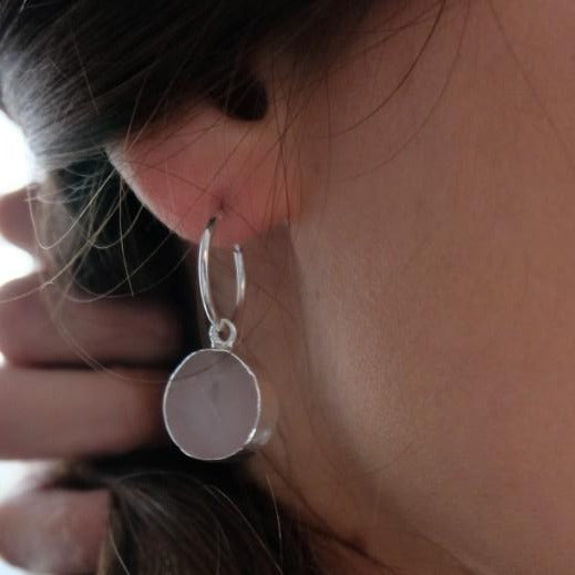 Mini Circle Hoop Earrings - Sterling Silver - Rose Quartz
