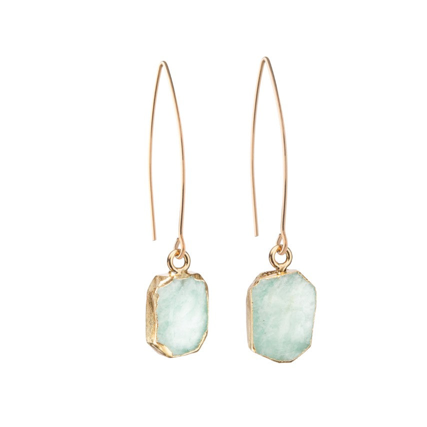 Gem Slice Dropper Earrings - Amazonite - Decadorn
