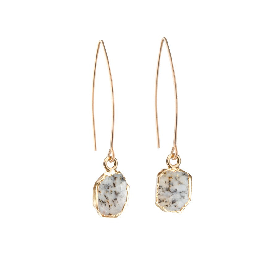 Gem Slice Dropper Earrings - Dendritic Opal - Decadorn