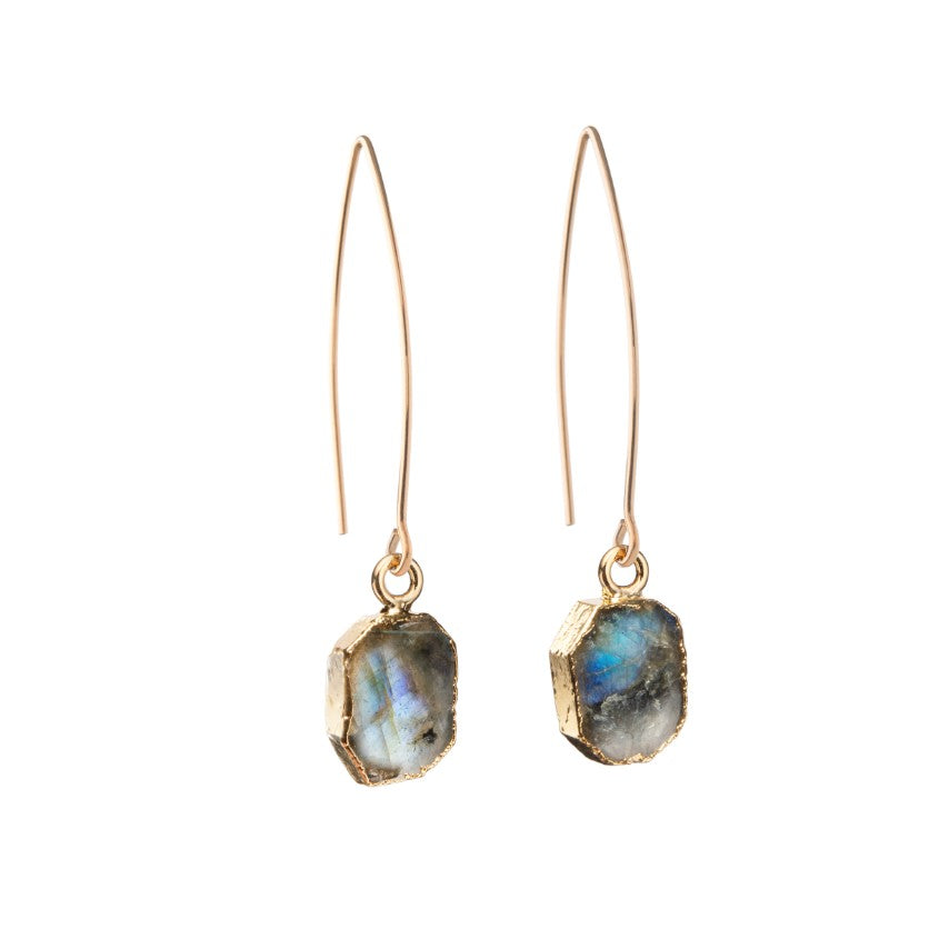 Gem Slice Dropper Earrings - Labradorite - Decadorn