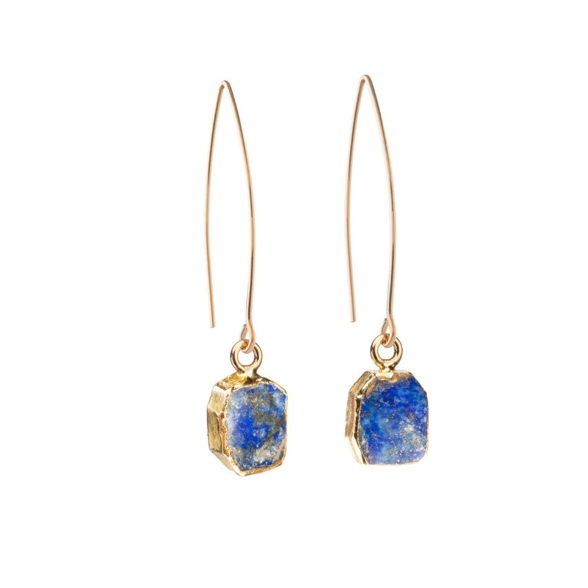 Gem Slice Dropper Earrings - Lapiz Lazuli - Decadorn