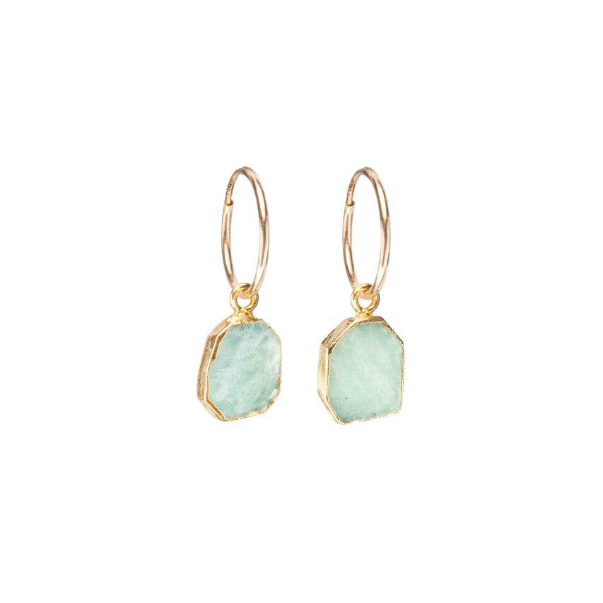 Gem Slice Hoop Earrings - Amazonite - Decadorn