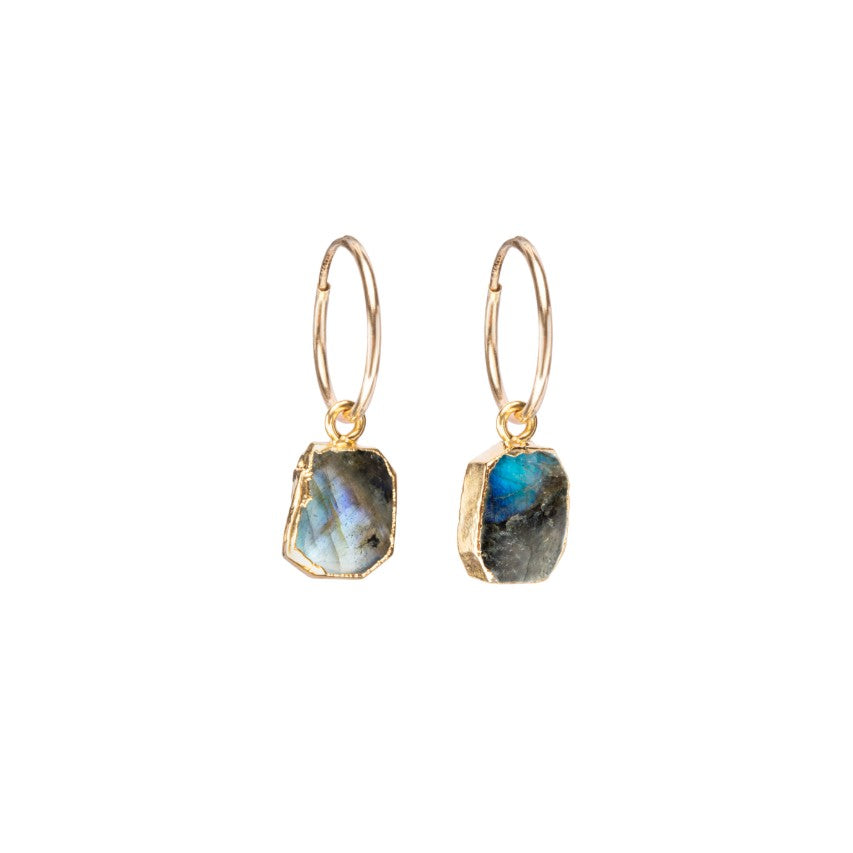 Gem Slice Hoop Earrings - Labradorite - Decadorn