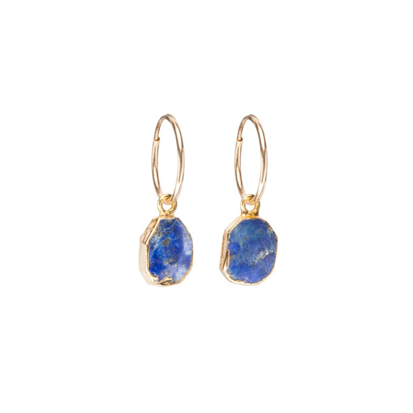 Gem Slice Hoop Earrings - Lapiz Lazuli, - Decadorn