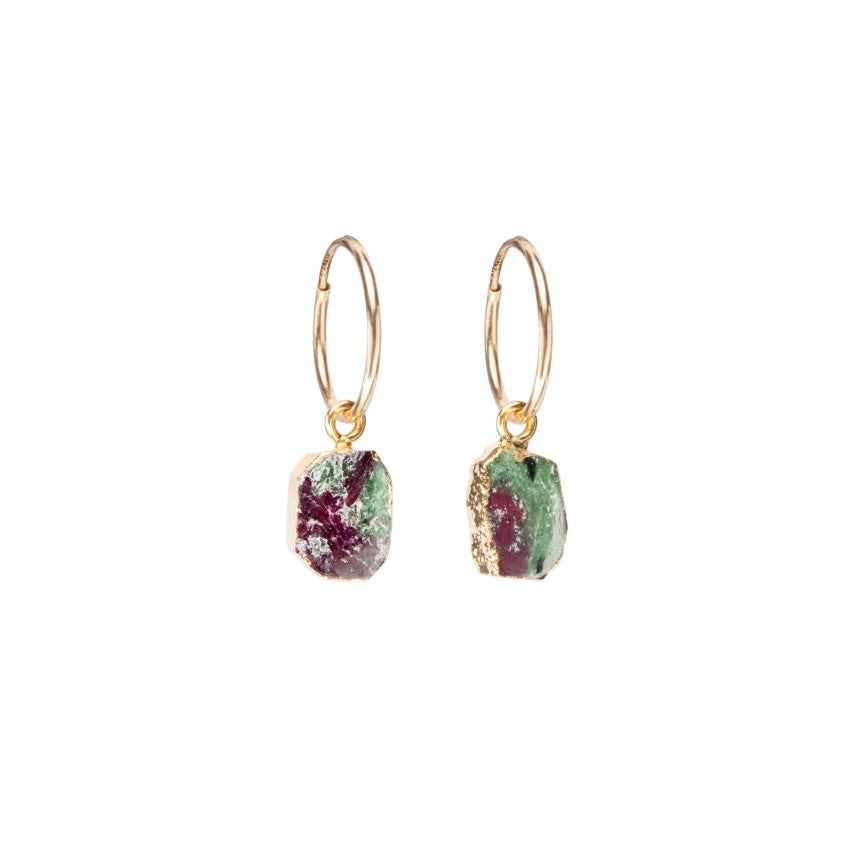 Gem Slice Hoop Earrings - Ruby Zoisite - Decadorn