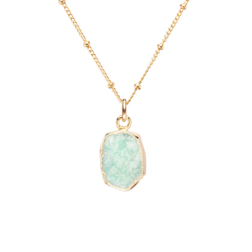 Gem Slice Necklace - Amazonite (Confidence)