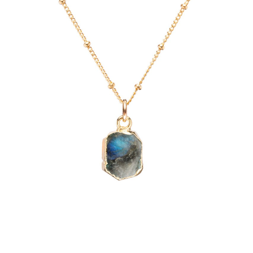 Gem Slice Necklace - Labradorite - Decadorn