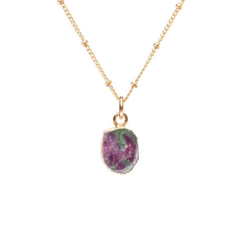 Gem Slice Necklace - Ruby Zoisite