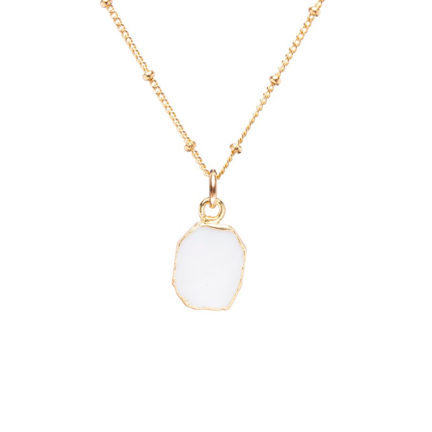 Gem Slice Necklace - White Agate