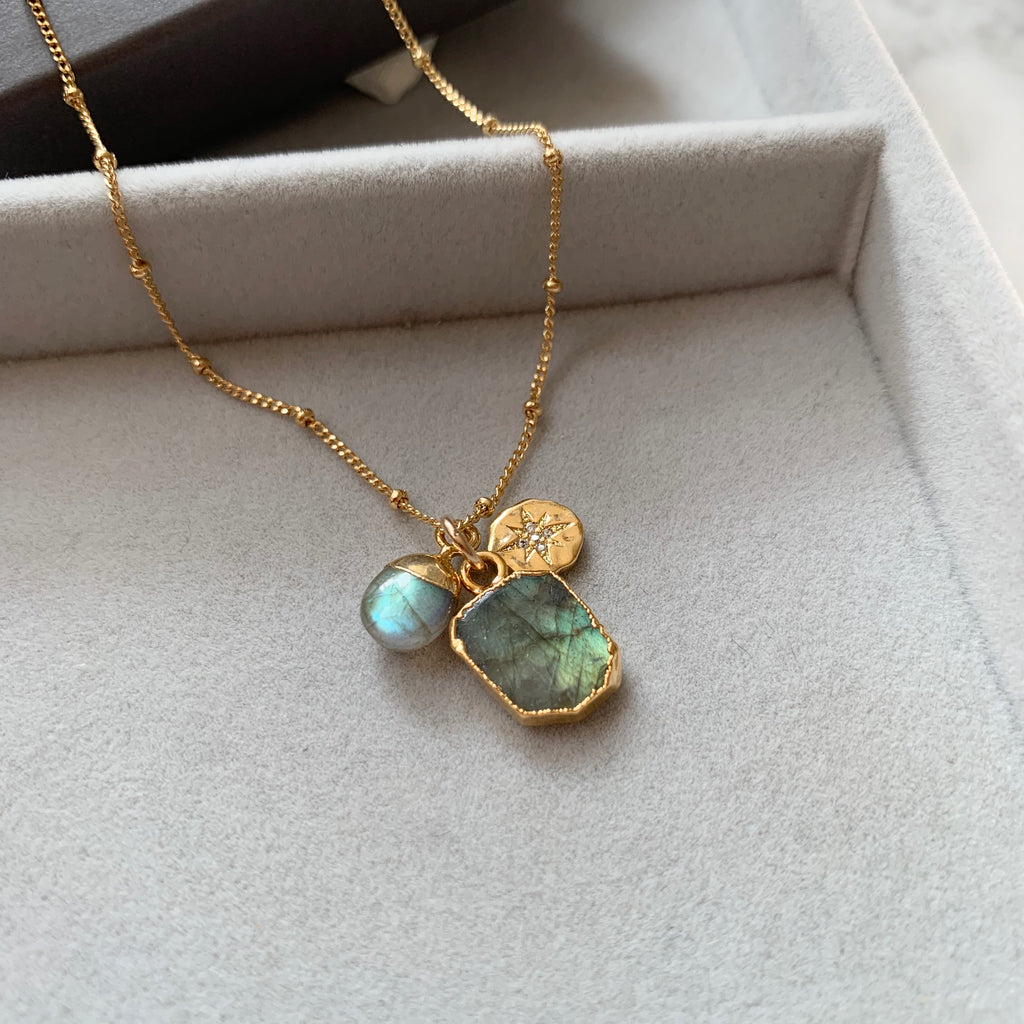 Gem Slice Triple Necklace - Labradorite - Decadorn