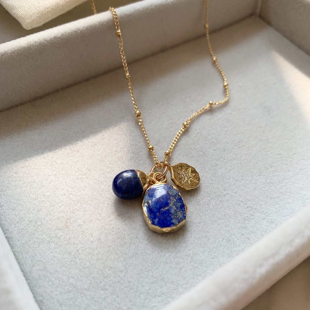 Gem Slice Triple Necklace - Lapiz Lazuli - Decadorn