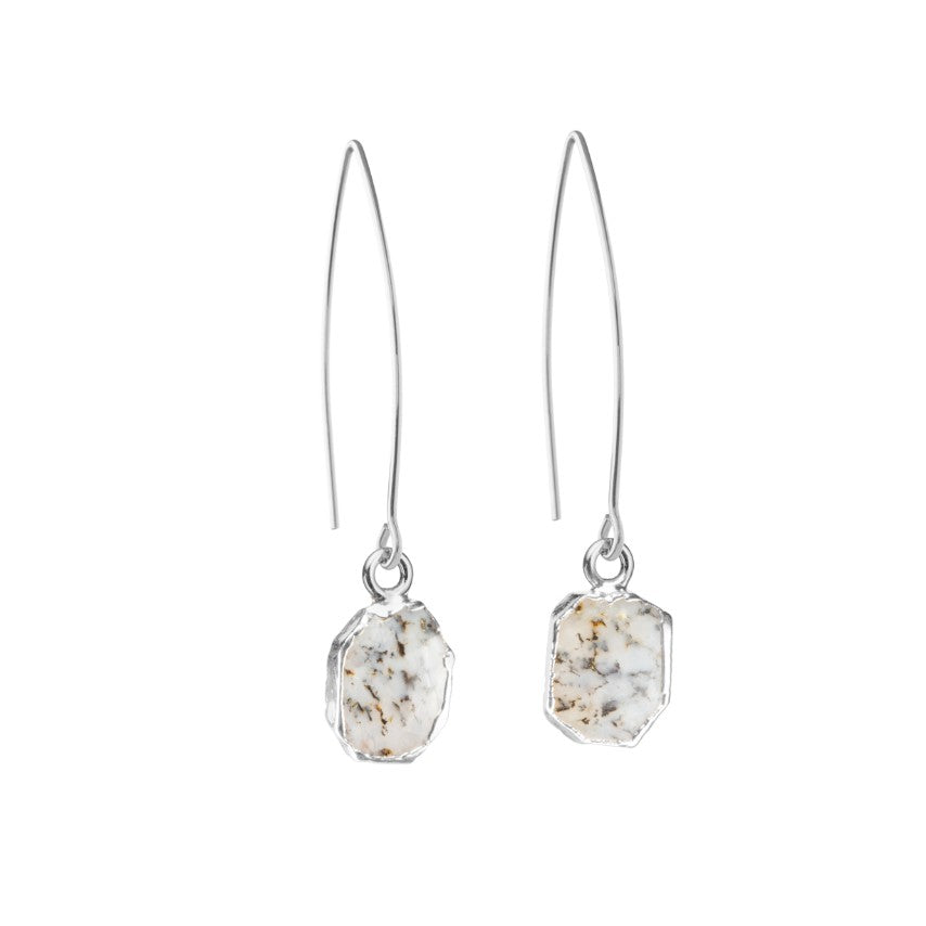 Gem Slice Dropper Earrings - Silver - Dendritic Opal - Decadorn