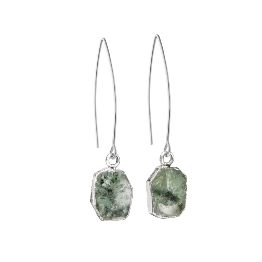 Gem Slice Dropper Earrings - Silver - Emerald