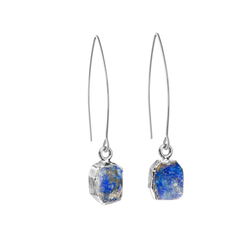 Gem Slice Dropper Earrings - Silver - Lapiz Lazuli - Decadorn