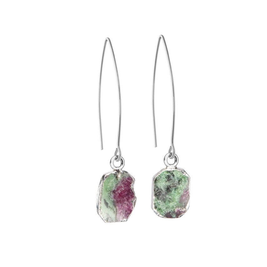 Gem Slice Dropper Earrings - Silver - Ruby Zoisite - Decadorn