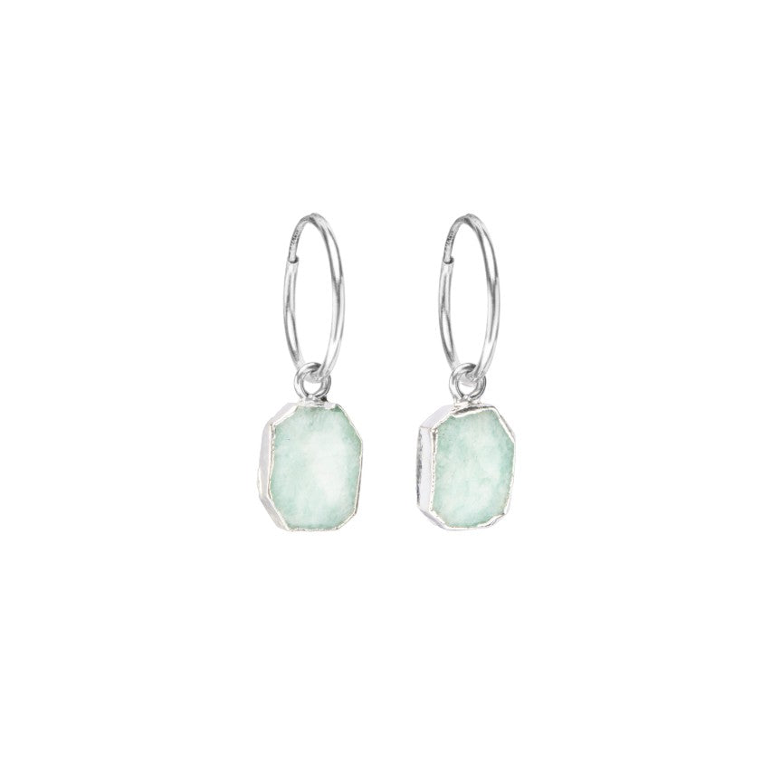 Gem Slice Hoop Earrings - Silver - Amazonite - Decadorn