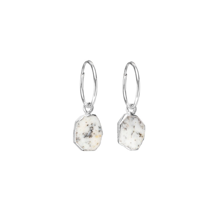 Gem Slice Hoop Earrings - Silver - Dendritic Opal - Decadorn