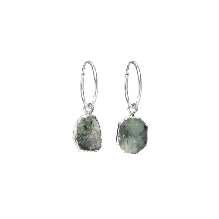Gem Slice Hoop Earrings - Silver - Emerald - Decadorn