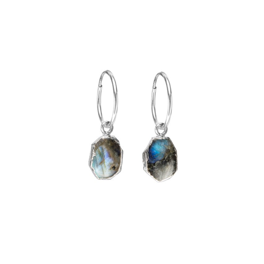 Gem Slice Hoop Earrings - Silver - Labradorite - Decadorn