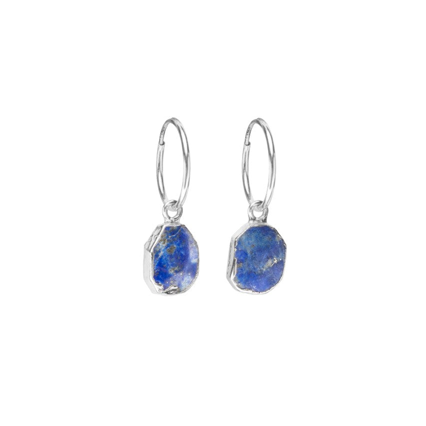 Gem Slice Hoop Earrings - Silver - Lapiz Lazuli - Decadorn