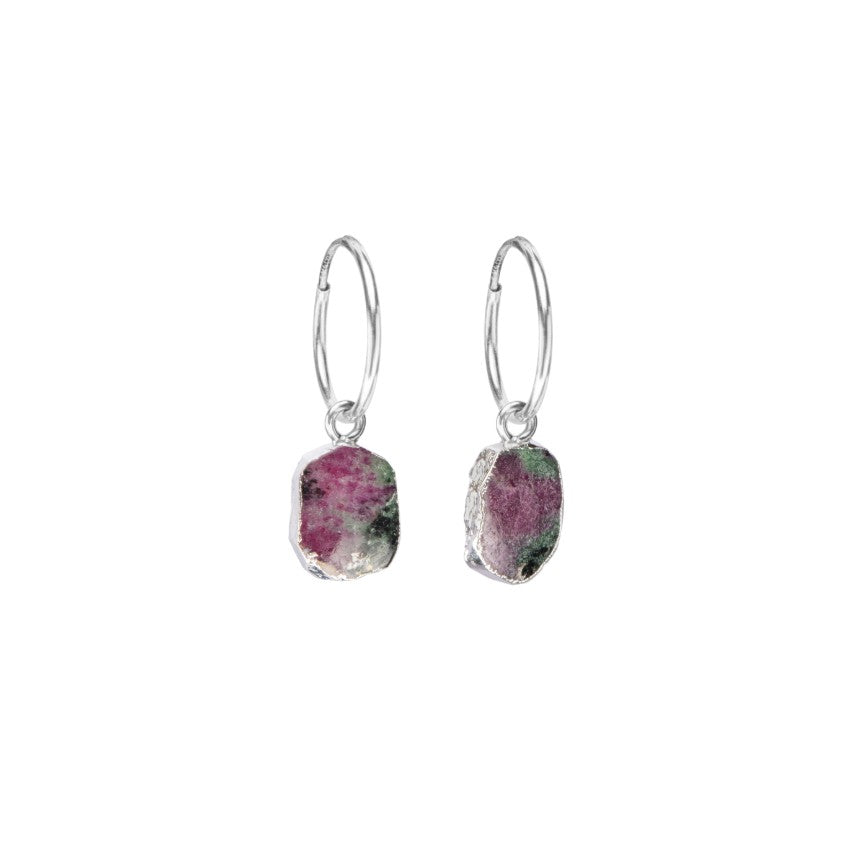 Gem Slice Hoop Earrings - Silver - Ruby Zoisite - Decadorn