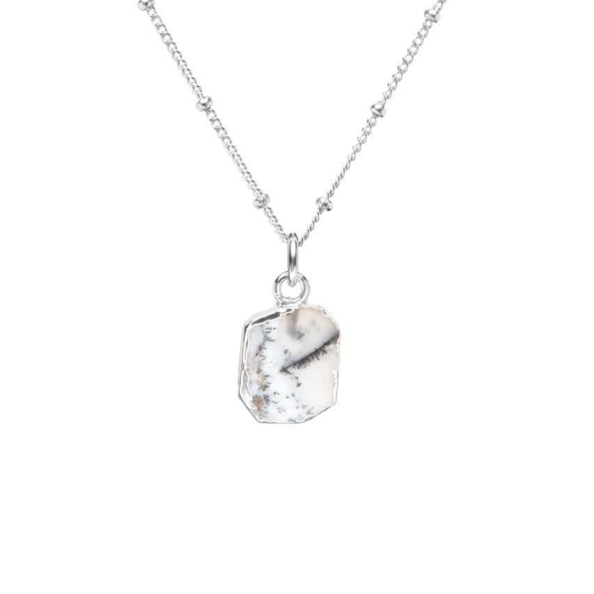 Gem Slice Necklace - Silver - Dendritic Opal - Decadorn