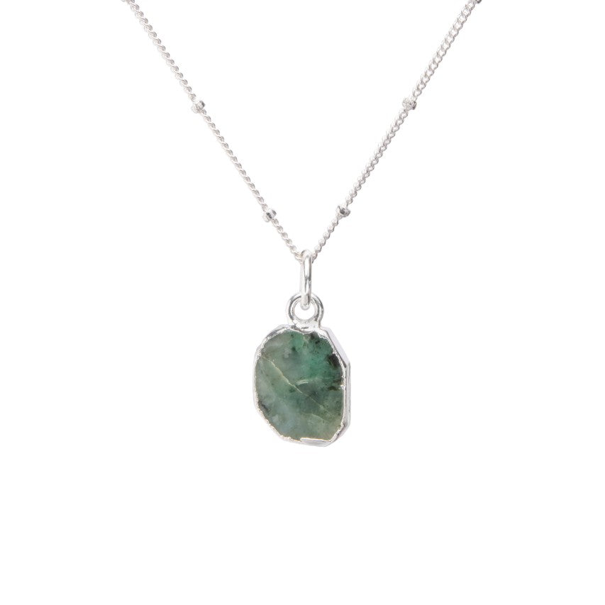 Gem Slice Necklace - Silver - Emerald - Decadorn