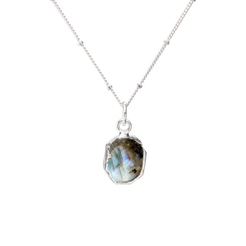 Gem Slice Necklace - Silver - Labradorite - Decadorn