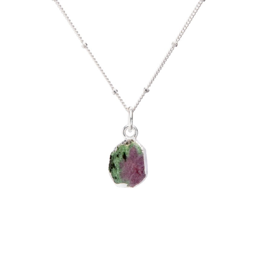 Gem Slice Necklace - Silver - Ruby Zoisite - Decadorn