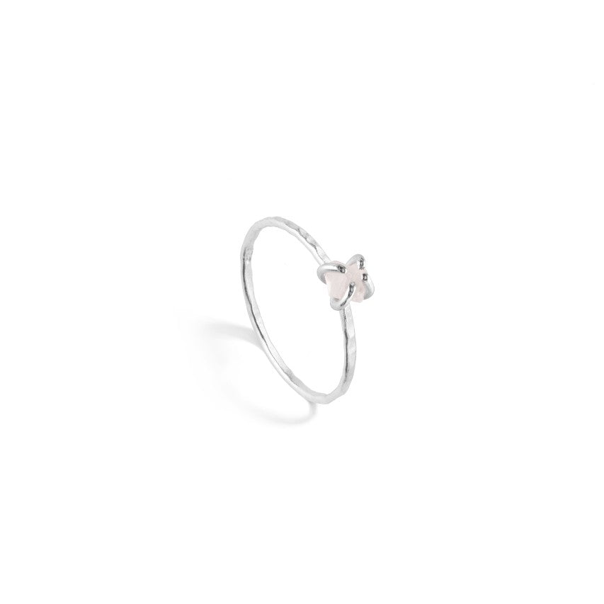 Tiny Raw Cut Birthstone Rings - Silver - Decadorn