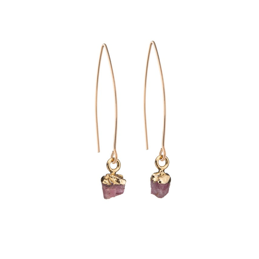 Birthstone Dropper Earrings - OCTOBER, Pink Tourmaline - Decadorn