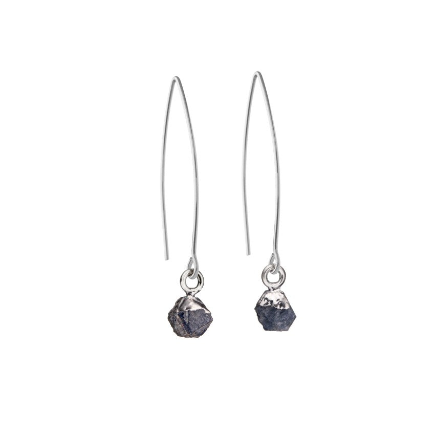 Birthstone Dropper Earrings - Sterling Silver - SEPTEMBER, Sapphire - Decadorn
