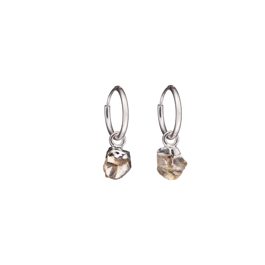 Birthstone Hoop Earrings - Sterling Silver - NOVEMBER, Citrine