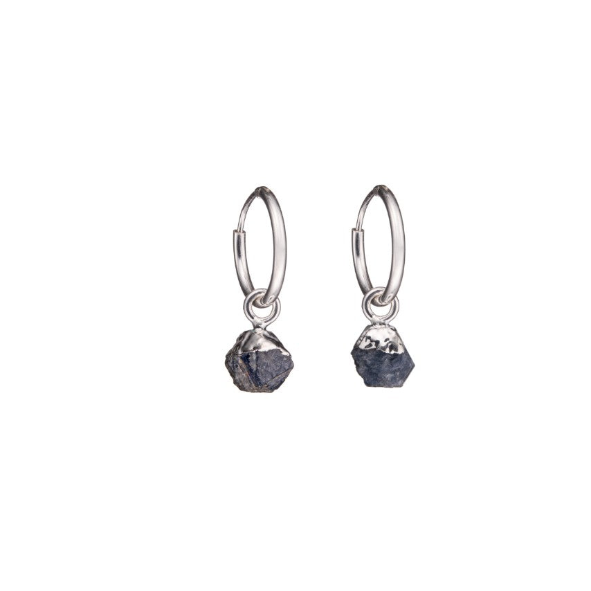 Birthstone Hoop Earrings - Sterling Silver - SEPTEMBER, Sapphire - Decadorn