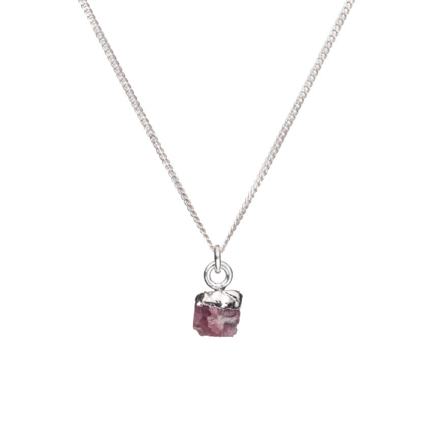 Birthstone Necklace - Sterling Silver - OCTOBER, Pink Tourmaline - Decadorn
