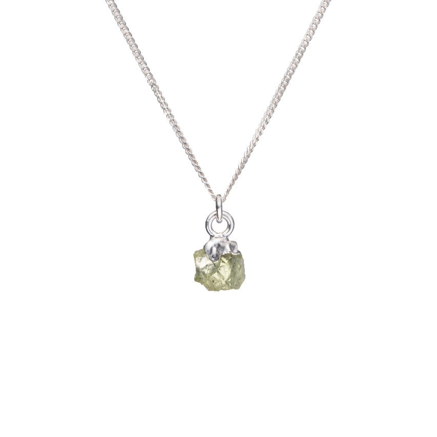 Birthstone Necklace - Silver - AUGUST, Peridot