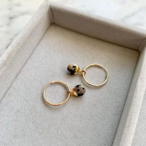 Tiny Tumbled Gemstone Hoop Earrings - Dalmatian - Decadorn